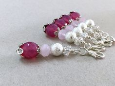 Pink Jade Gemstone and Crystals Keychain Small by LucKeyMe on Etsy