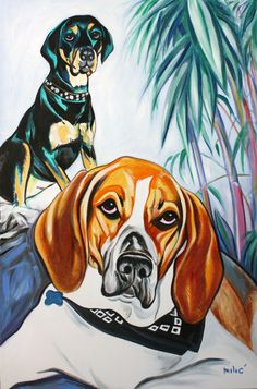 "joy's dogs 36x24"" oil on canvas by dragoslav drago milic"