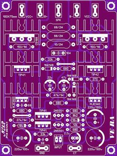 me ~ Power Amplifier PCB Layout in 2019 Electronics Projects, Diy Electronics, Valve Amplifier, Audio Amplifier, Circuit Board Design, Electronic Kits, Electronic Circuit, Speaker Box Design, Circuit Diagram