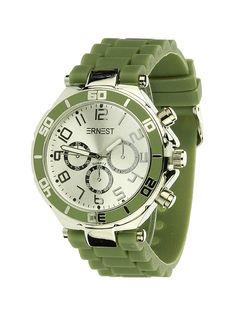 Ernest Horloge Zilver - Groen is een prachtig zilveren horloge met een groene kunststoffen band en een zilveren wijzerplaat.