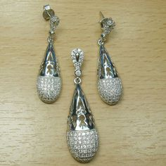 Massjewelry - Micro Setting White CZ 925 Sterling Silver Pear Shape Jewelry Set