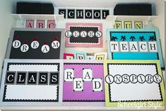 See It! Spell It! Monogram Art by Schoolgirl Style! Hundreds of classroom photos, bulletin board ideas, classroom organization, decor, accessories, and classroom themes. If you are decorating a classroom, you need to visit Schoolgirl Style first!  www.schoolgirlstyle.com