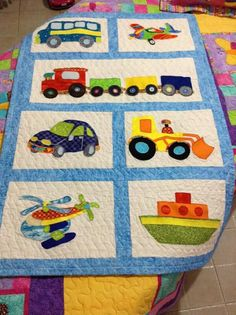 Beautiful bedspread for children - larissa Colchas Quilting, Quilting Projects, Quilting Designs, Sewing Projects, Baby Patchwork Quilt, Baby Boy Quilts, Applique Quilts, Boys Quilt Patterns, Transportation Crafts