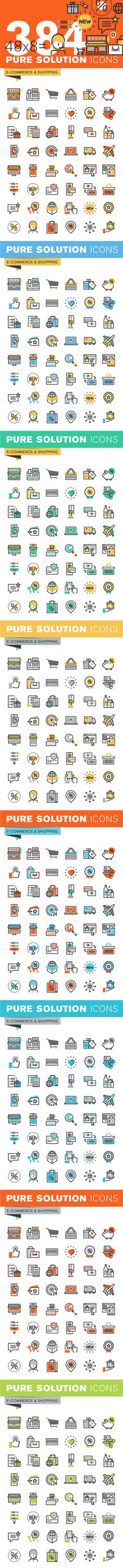 Set of Thin Line Icons of Shopping by PureSolution on @creativemarket
