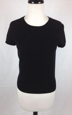 Evie Cashmere Sweater Womens Black Short Sleeve Crewneck S #Evie #Crewneck