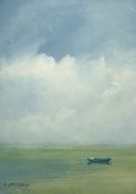 I love this painting. I've always been a fan of minimalist art. I like that in this piece your eyes are drawn to the boat and the sky is big and open behind it. I would totally hang something like this above my couch.