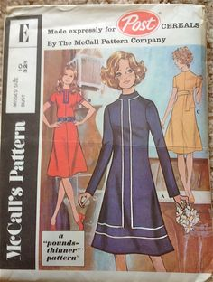 McCalls E 1970s  Misses Dress Pattern POST CEREALS  Pouns Thinner Womens Vintage Sewing Pattern by mbchills