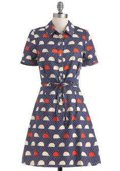 Hedgehog Heaven Dress by People Tree - Blue, Red, Print with Animals, Casual, Shirt Dress, Short Sleeves, Cotton, Mid-length, White, Multi, Buttons, Pockets