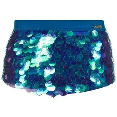 Ultra Sequin Shorts by Rosa Bloom ($65) ❤ liked on Polyvore featuring shorts, topshop, topshop shorts, blue sequin shorts, colorful shorts and blue shorts