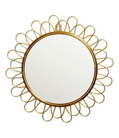 Sunburst-style round mirror with a gold-tone metal frame. Hopscotch Rug, Small Round Mirrors, Golden Mirror, Mirror 3, Cordon En Cuir, Fairest Of Them All, H & M Home, H&m Gifts, Decorative Cushions