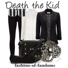 Death the Kid by fofandoms on Polyvore featuring T By Alexander Wang, Wallis, J Brand, City Classified, Call it SPRING, River Island and Fornash