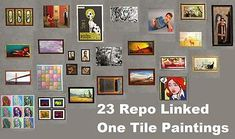 Mod The Sims - 23 Repo Linked One Tile Maxis Paintings