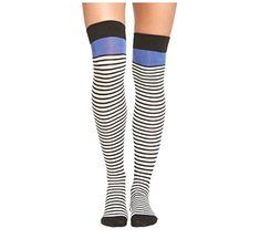Kate Spade BLU Over Knee High Socks, Black/White/Blue