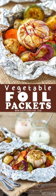 These vegetable foil packets are perfect for oven, grill or campfire. A mix of vegetables is seasoned with a simple homemade spice mix and cooked in foil. Quick prep, fuss-free cooking, and easy clean-up!