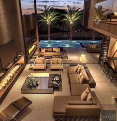 Holiday is coming and we are already dreaming of such a house ! Home Room Design, Dream Home Design, Home Interior Design, Dream House Interior, Luxury Homes Dream Houses, Modern Mansion Interior, Modern House Facades, Modern House Design, Interior Architecture