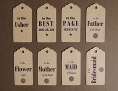 Wedding party attendant letterpress gift by TheSmallprintCompany, £3.00