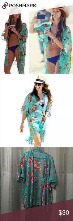 Floral coverup Fashion women. Floral print chiffon loose kimono beach coverup bikini dress suit Swim Coverups