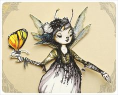 Fairy Paper Doll handmade by the Filigree - Articulated Paper Doll. $9.00, via Etsy.