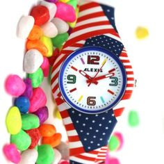 FW922I PNP Shiny Silver Watchcase Silicone Red Band Unisex ALEXIS Fashion Watch