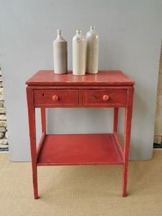 Painted Side Table - The Hoarde Antiques Online, Selling Antiques, Bedside Tables, Entryway Tables, Painted Side Tables, Stone Barns, French Bistro, Old Stone, Country Furniture