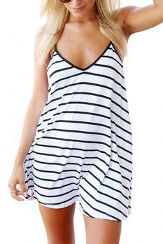 Stripe Plunge Neckline Mini Dress - US 13.95 -YOINS Sexy Dresses 5e314042cf