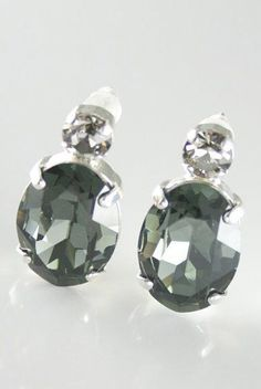 Gray crystal earrings Swarovski crystal