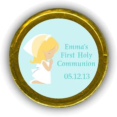 Girl Praying First Communion Chocolate Coins