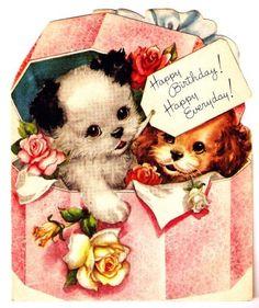 Vintage Greeting Cards Children Animal Illustrations by PaperPrizes Happy Birthday Vintage, Happy Birthday Greetings, Vintage Valentines, Vintage Holiday, Birthday Greeting Cards, Retro Birthday, Vintage Greeting Cards, Vintage Postcards, Vintage Items