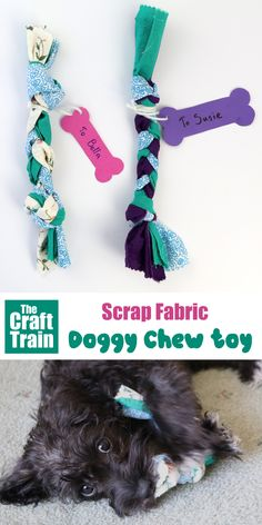 DIY dog toy made from scrap fabric. This is a fun and easy toy you can make for your dog and makes a great handmade gift! Make an easy scrap fabric DIY dog toy for your best friend this Christmas (or any time of year really! Scrap Fabric Projects, Diy Sewing Projects, Fabric Toys, Fabric Scraps, Diy Dog Toys, Dog Christmas Gifts, Kids Christmas, Animal Crafts For Kids, Crafts For Dogs