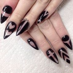 Random shapes black and clear polish design. Draw various designs such as lines, diagonals, and hearts and cross designs on your nails using black nail polish and a clear base and top coat.