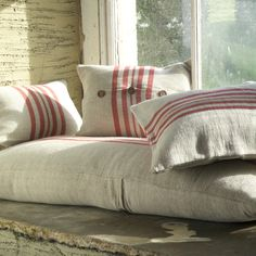 Rustic linen cushions