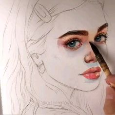 Time lapse video how to draw process building learning artist sketch sketch illustration art drawing Watercolor Portrait Tutorial, Watercolor Art Face, Watercolor Painting Techniques, Watercolor Portraits, Watercolor Skin Tones, Eye Painting, Cool Art Drawings, Art Drawings Sketches, Drawing Faces