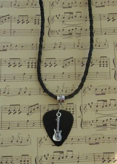 Guitar Pick Necklace, Music Guitar Pick Jewelry, Custom Color & Size, Musical Instrument Fiddle Adjustable Chain Braided Leather Look