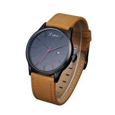 LVPAI high quality brand Man watch Popular Low-key Minimalist Connotation Leather Men's Quartz Wristwatch free shipping Feb2 #Affiliate