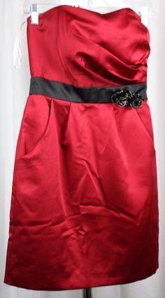 David's Bridal Junior Womens Red Strapless Black Accent Dress Size 2 #DavidsBridal #Strapless #Formal