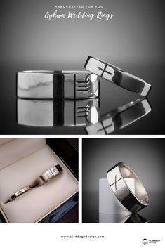 Ogham Wedding rings for men, crafted in white gold. claddaghdesign .com