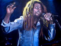 "Bob Marley - ""Positive Vibrations"", original acrylic on canvas portrait by Kim Overholt."