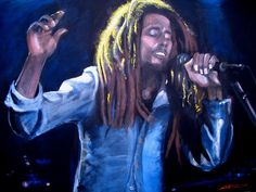 "Bob Marley - ""Positive Vibrations"", original acrylic on canvas portrait by Kim Overholt."