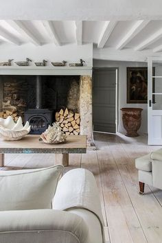 Kitchen Living Rooms Stunning large living room fireplace with log burner and wood piles. The decor is simple and clean yet with farmhouse characteristics. Cottage Living Rooms, Home Living Room, Living Room Designs, Cottage Lounge, Kitchen Living, Large Living Rooms, Country Lounge, Scandi Living Room, Country Style Living Room