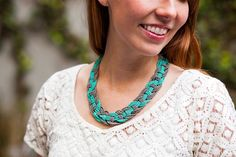 Listen up chicas! Looking for a spring statement necklace now that the weather has turned for the better? We've got some advice: stop shopping, and start making! 'Cause see this necklace right here? It can be made for under $15. We know... unreal, right? All it takes is the patience to follow a semi-intricate weaving pattern, and you'll be ready to rock it in no time! But the best part about this jewelry DIY is that the color palette is totally customizable. Just buy whatever colo...