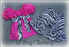 Pageant Wear Hot Pink Zebra Peasant Top and Short Set  | Lilbugclothing - Clothing on ArtFire