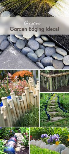 "Creative Ways To Edge Your Garden....just as long as ""creative"" is not the new word for ""tacky""."