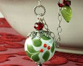 Holly Christmas Necklace Holly Necklace Red White Green Lampwork Necklace Christmas Holiday Necklace Christmas Pendant Sterling Silver Chain