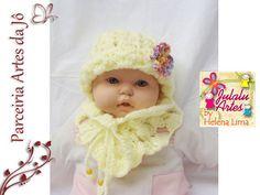 Conjunto de Touca e Cachecol de lã para bebês. R$ 35,00