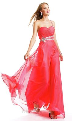 Attractive A-line One Shoulder Floor-length Chiffon Beading Red Evening Dresses