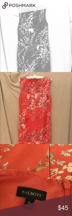 Talbot's classic sheath dress & shrug Dress is sleeveless, size 12. Background is coral with flowers in peach, cream, blue-gray,  and green. 54% lyocell, 46% cotton. Lining is 100% polyester. Dry clean. Dress is 39 1/4 from shoulder to hem. Shrug is pale peach, size L, 16 1/2 inches from shoulder to hem. Nice for an outdoor event in the summer. Talbot's Dresses Mini