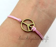 Charm brass antique peace sign pink rope woven fashion bracelet charm bracelet bracelet trend fashion-Q287by luckystargift, $0.79