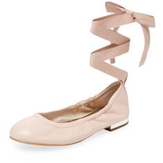 Sam Edelman Women's Fallon Ankle-Wrap Ballet Flat - Pink, Size 8.5 ($40) ❤ liked on Polyvore featuring shoes, flats, pink, pink leather flats, leather ballet shoes, leather ballet flats, pink ballet flats and leather flats