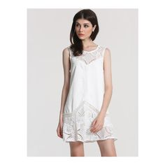 SheIn(sheinside) White Sleeveless Lace Ruffle Flapper Dress ($20) ❤ liked on Polyvore featuring dresses, white, short lace dress, sheath dress, short sleeve dress, short white dresses and summer dresses