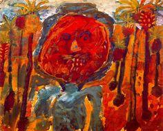 Jean Dubuffet - Arab Between Palm Trees, 1947-48. 44 x 55 cm